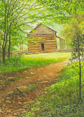 A Cabin in the Woods painting by Wes Siegrist