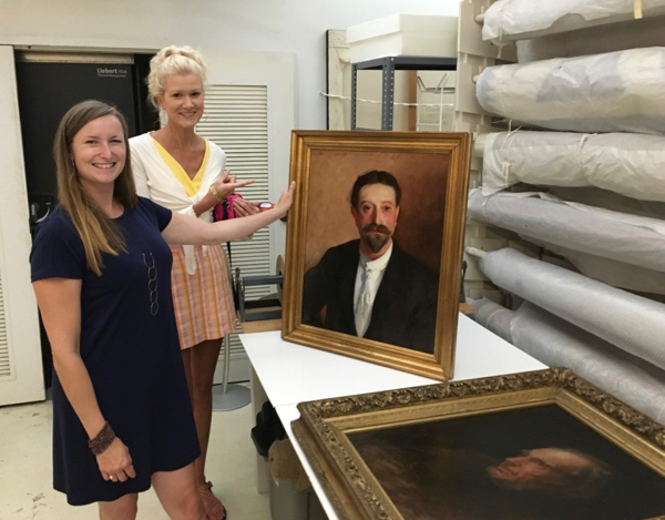 Jillian Casey and Rachelle Siegrist with a John Singer Sargent portrait