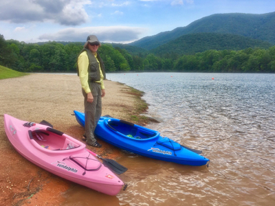 Wes with our kayaks