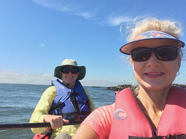Wes and Rachelle Siegrist kayaking in Long Island Sound