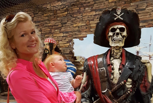 Rachelle with Raelynn and the pirates