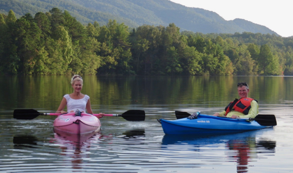 Wes and Rachelle Siegrist in their kayaks