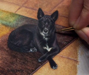 Rachelle Siegrist painting a dog commission