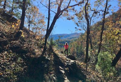 Rachelle Siegrist hiking in the Smokies