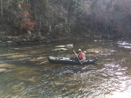 Wes Siegrist in a fishing kayak