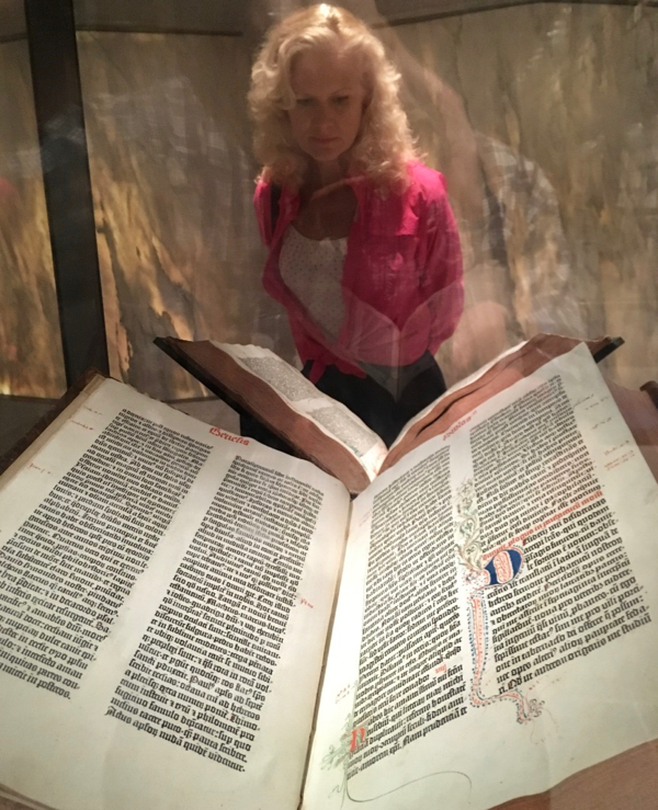 Rachelle Siegrist with a Gutenberg Bible