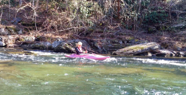 Rachelle Siegrist enjoying her kayak in the Smokies
