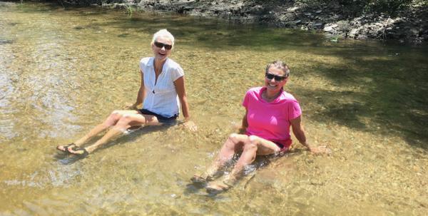Rachelle and Sharon enjoying the lake