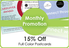 Monthly Print Promotions 15% off full color letterhead - original design and printing.