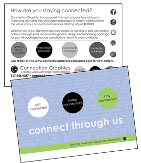 Direct mail postcard samples - Connection Group - connect through us.