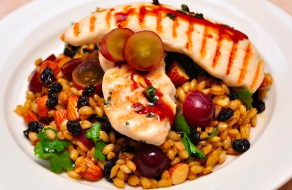 Char-grill chicken with VinCotto Raisins, Grape and Almond Barley Salad