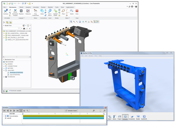 Mechanisms created in PTC Creo can now be transferred directly into KeyShot adjusted and rendered out as an animation.
