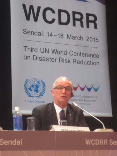 ICSU President Gordon McBean announces the voluntary commitment of the Science and Technology community to DRR