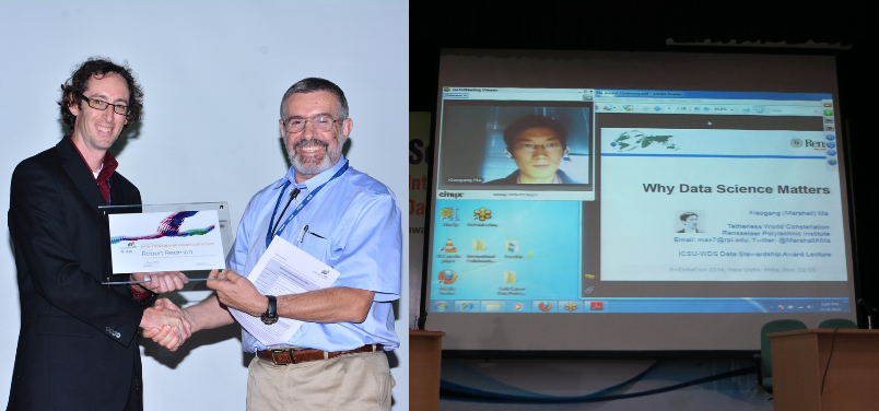 Left: Robert Redmon being presented with his award by Bernard Minster (WDS-SC Chair). Right: Xiaogang Ma gives his presentation remotely.