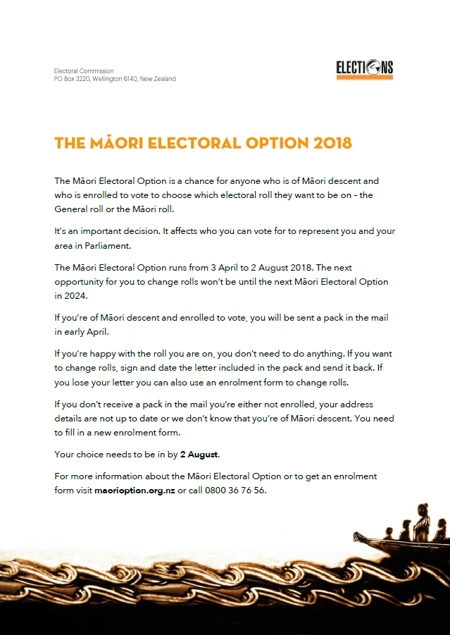 Māori Electoral Option newsletter