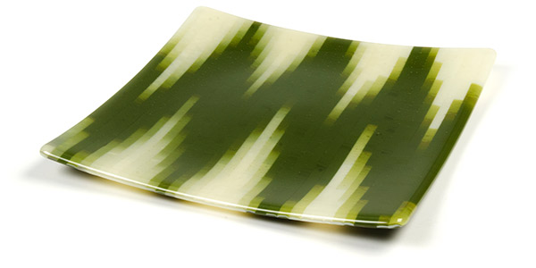 A finished plate with a striking streaky chevron design.
