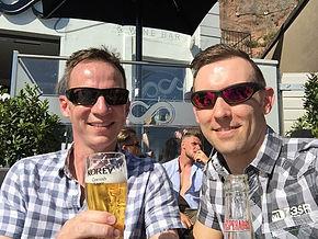 Enjoying a beer in the sun
