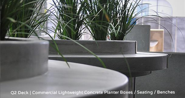 h2odesigns.com.au - Q2 Deck, Melbourne Case Study - Commercial Lightweight Concrete Planter Boxes / Seating / Benches with LICOM76, the lighweight concrete composite material exclusively license to h2o designs.