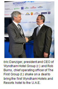 Eric Danziger, president and CEO of Wyndham Hotel Group and Rob Burns, chief operating officer of The First Group