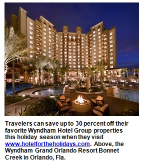 Travelers can save up to 30 percent off their favorite Wyndham Hotel Group properties this holiday season when they visit www.hotelfortheholidays.com.