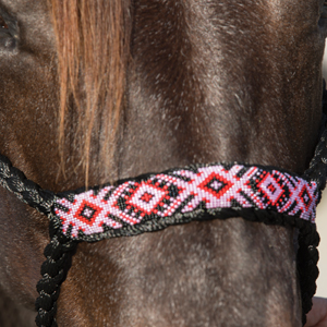 Cowboy Beaded Halter - Black/Pink