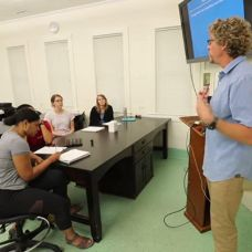 Brian Silliman addresses his class