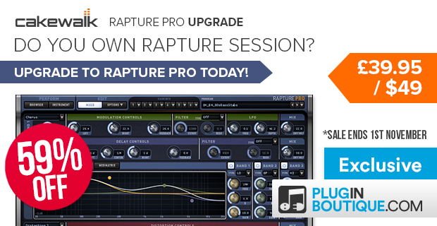 Cakewalk Rapture Pro Upgrade from Rapture Session Sale (Exclusive) - 59% Off