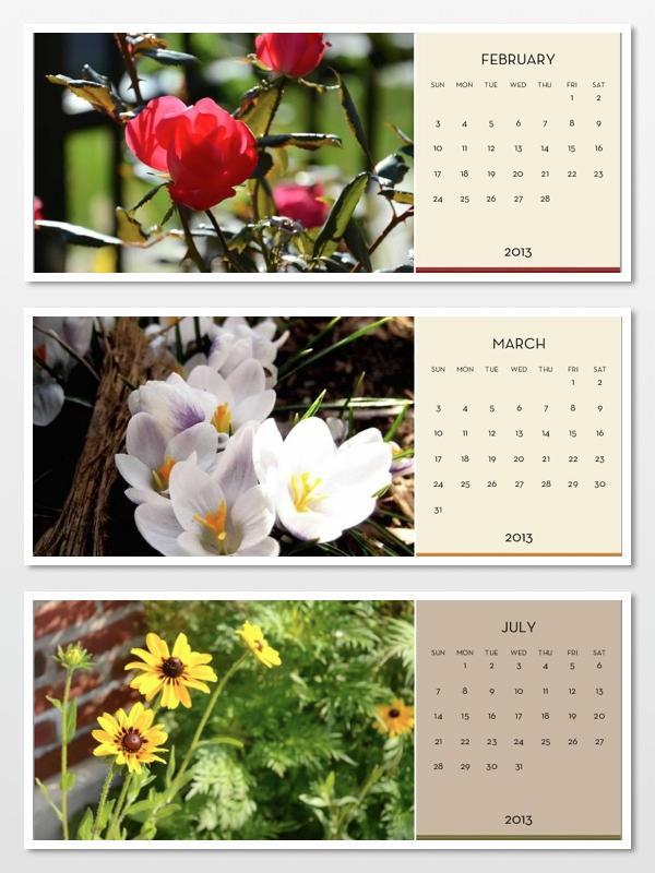 IMAGE: Sample Calendar Pages