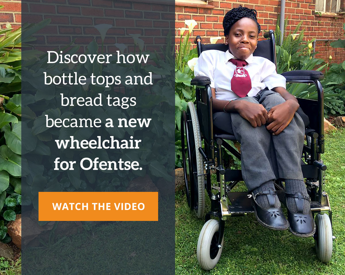 Discover how bottle tops and bread tags became a new wheelchair for Ofentse