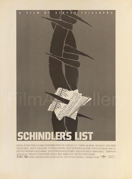Saul Bass Schindlers List Barbed Wire Original Vintage Movie Poster Newsprint