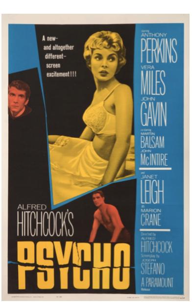 Alfred Hitchcock Psycho Original Vintage Movie Poster