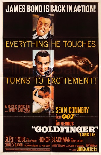 007 James Bond Goldfinger Original Vintage Movie Poster