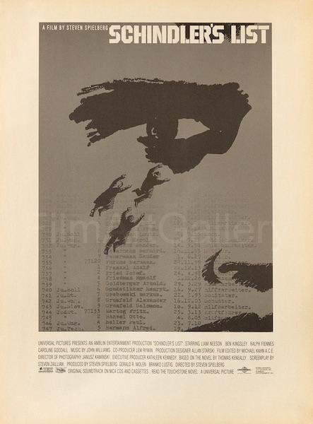 Saul Bass Schindlers List Eye Original Vintage Movie Poster Newsprint