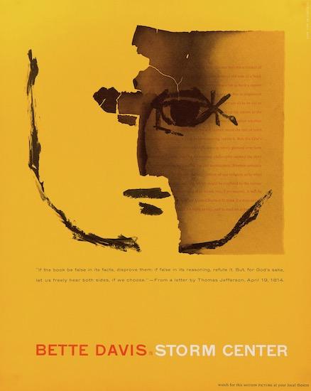Storm Center Bette Davis Saul Bass Silkscreen Original Vintage Movie Poster