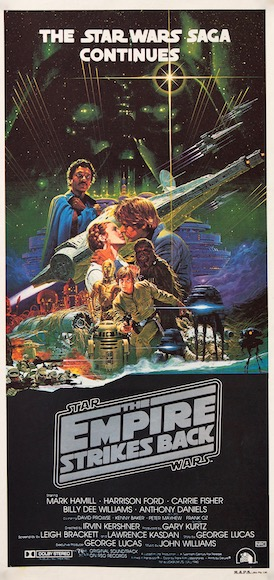 The Empire Strikes Back Star Wars George Lucas Mark Hamill Cary Fisher Harrison Ford Vintage Original Movie Poster