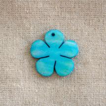 Pendentif Nacre Fleur Bleu ciel