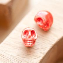 Perle en porcelaine 13x11mm Tête de mort Rouge