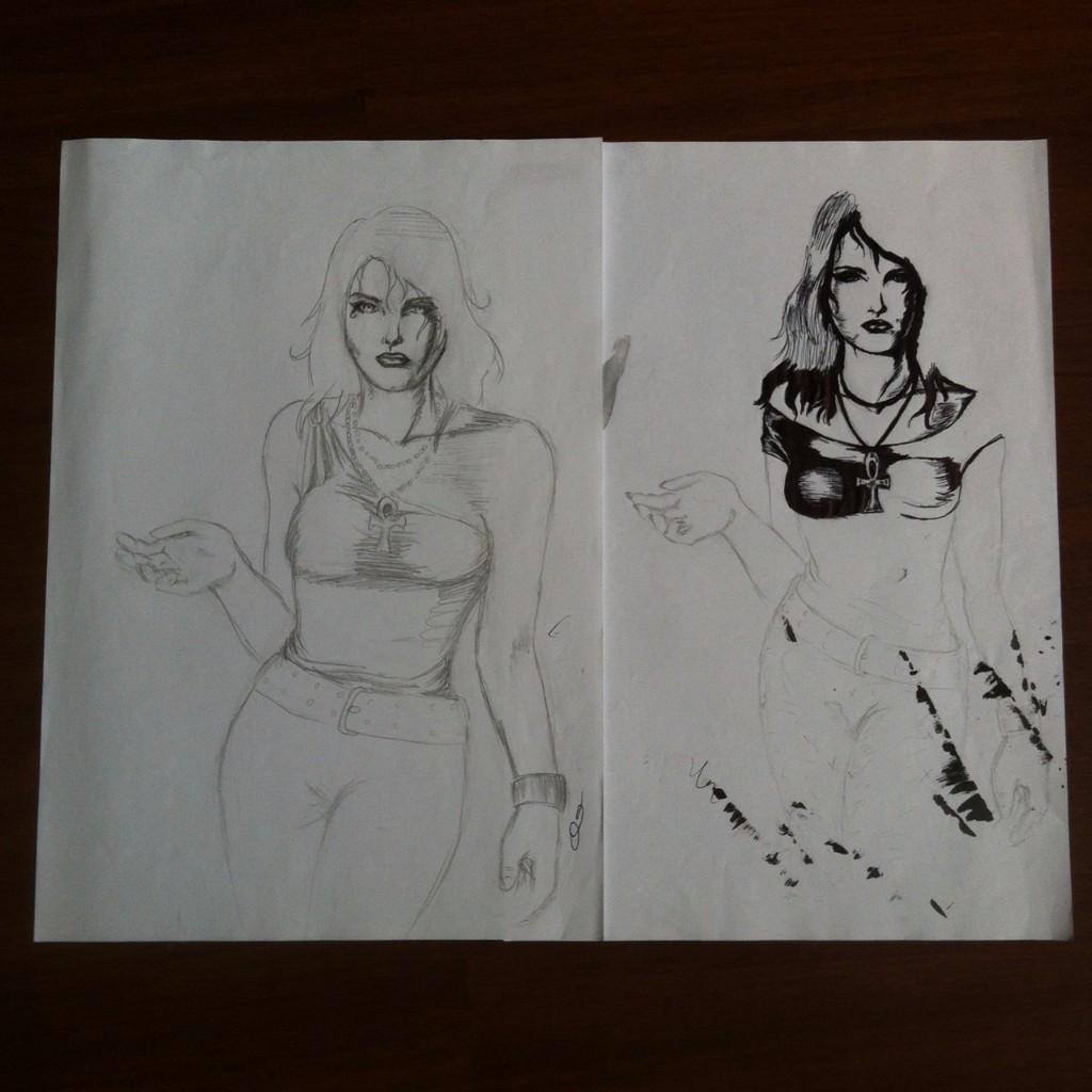 Duas ilustrações da Morte, uma a lápis, outra com metade finalizada a caneta e várias manchas de tinta