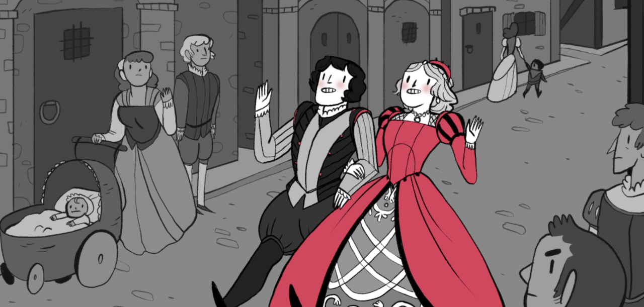 Ilustração de Romeu e Julieta com caras esquisitas acenando enquanto passeiam pela cidade