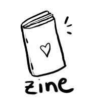 ilustrinha de uma zine com coração na capa