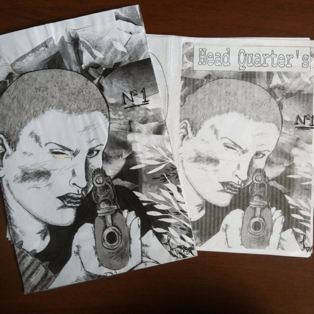 Ilustração da capa do fanzine, uma mulher careca apontando um rifle e a capa finalizada ao lado