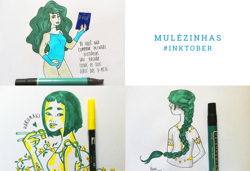 """Mulézinhas: mural com três ilustras. 1) She-Hulk segurando um gibi com os dizeres """"se você não comprar minhas histórias vou rasgar todos os seus gibis dos X-Men"""" 2) uma japonesa de cabelinho chanel comendo harumaki de hashi 3) uma moça com pinturas indígenas, de costas, mostrando sua longa trança verde"""