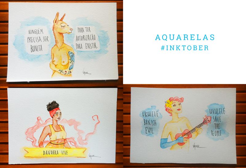 """Aquarelas: um mural com três desenhos. 1) Uma mulher com cabeça de lhama e o texto: """"ninguém precisa ser bonita para ter autorização para existir"""" 2) a guerreira Dandara de Palmares envolta em fumaça mágica, com o texto """"Dandara vive"""" 3) Amanda Palmer nua, tocando seu ukulele e o texto: """"ukulele banish evil, ukulele save the people"""""""