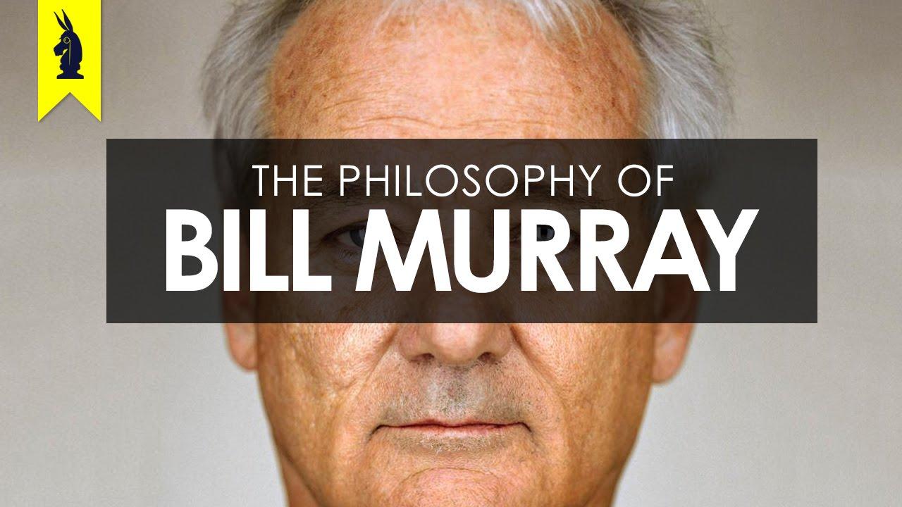 capa do vídeo com o título The Philosophy of Bill Murray sobre o rosto do ator