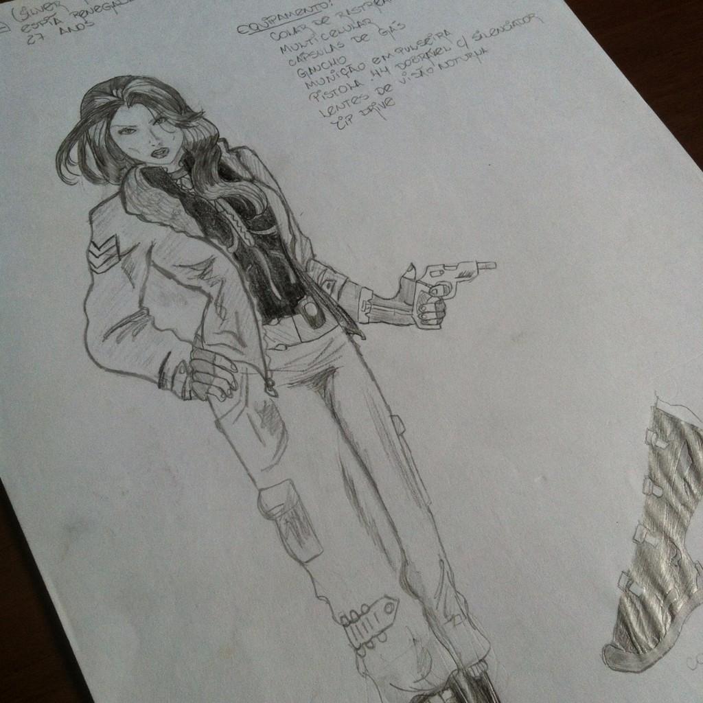 Ilustração a lápis de uma espiã segurando uma pistola
