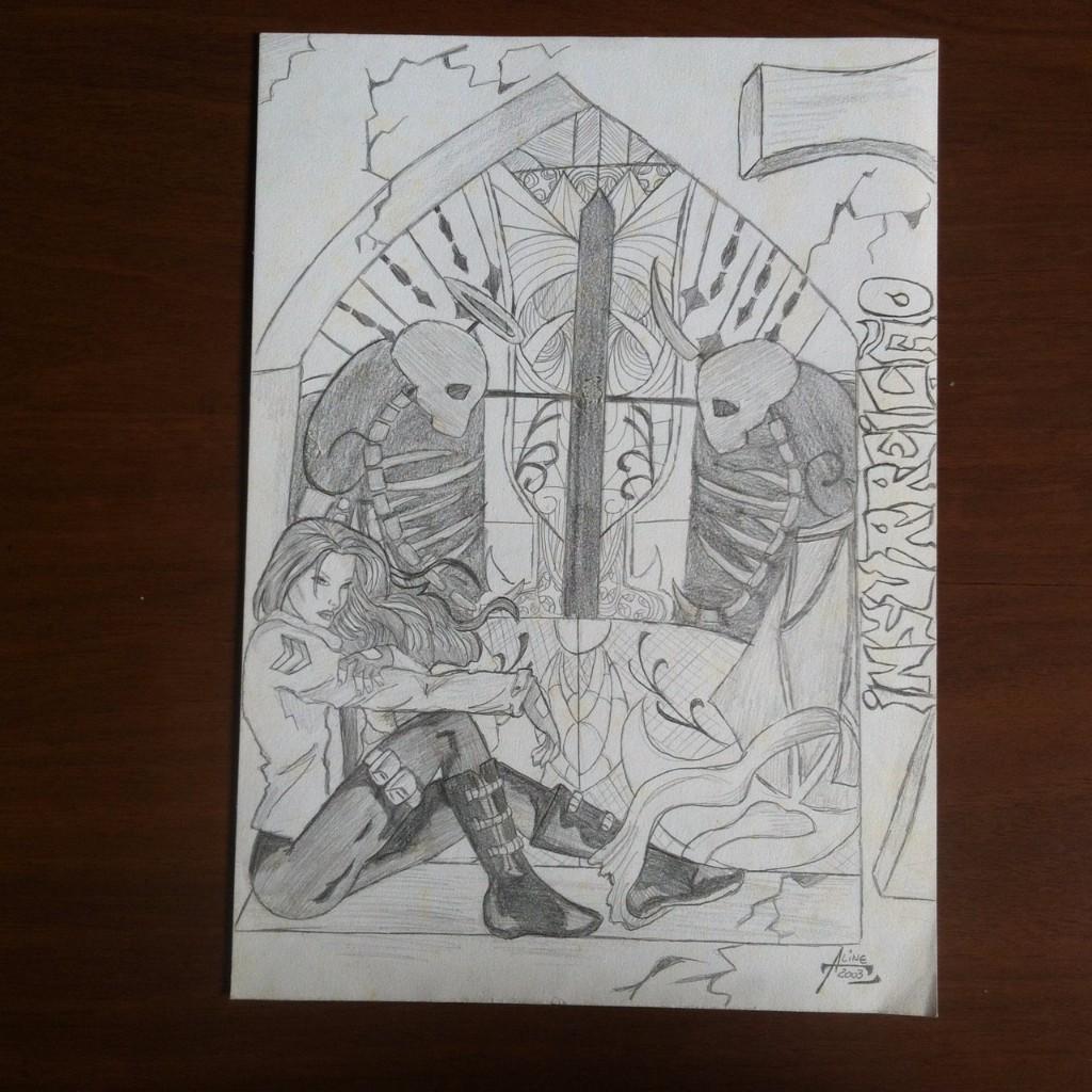 Ilustração a lápis da espiã sentada na janela de uma igreja com um vitral cheio de detalhes ao fundo