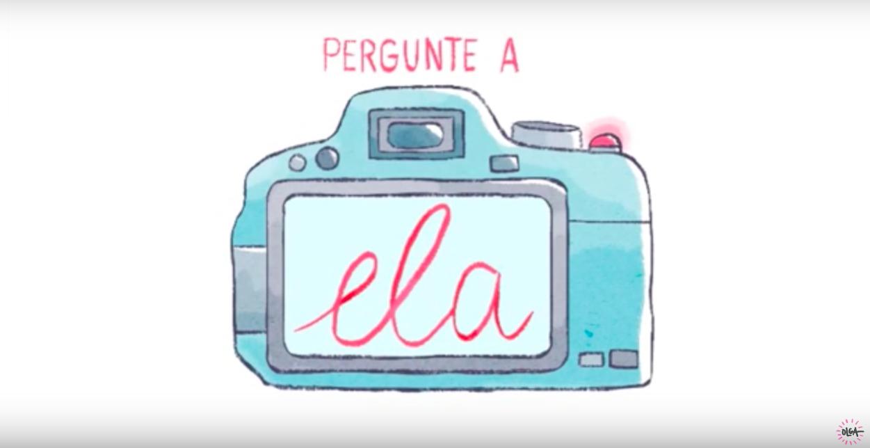 """Imagem com a vinheta de abertura do programa """"Pergunte a Ela"""", com a ilustração de uma máquina fotográfica. Clique para assistir ao vídeo."""