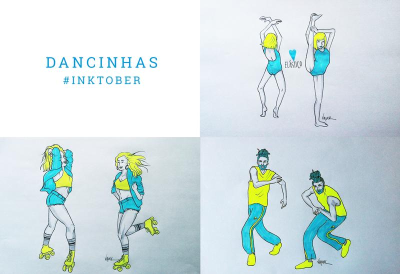 Dancinhas: mural com 3 ilustras. 1) a menininha do clipe da Sia, rodopiando de costas e alongando a perna até a cabeça; 2) uma moça de patins sensualizando 3) um rapaz com roupas de street dance fazendo seus movimentos de dança