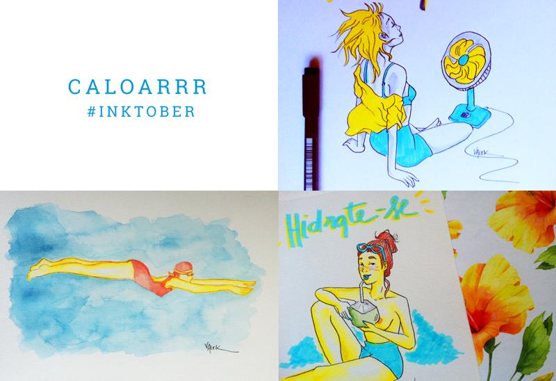 """Caloar: mural com três ilustras. 1) Uma moça com a blusa aberta na frente do ventilador 2) uma nadadora de maiô, mergulhando no azul de uma piscina 3) uma garota ruiva só de shortinho, bebendo água de côco, com o texto """"hidrate-se"""""""