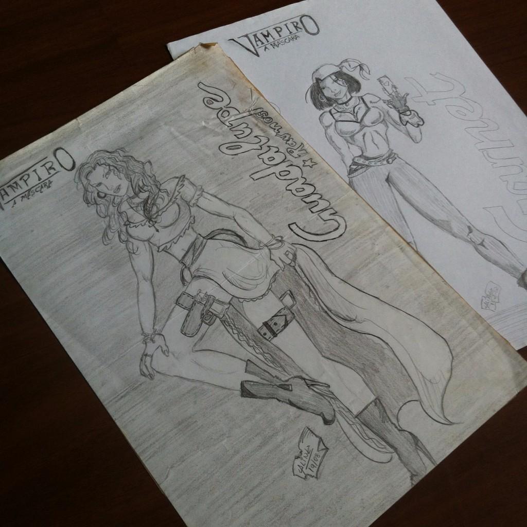 Ilustração a lápis de duas vampiras ciganas, uma com pistolas presas nas coxas, outra segurando uma carta de baralho